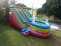 This is a image of Jumping Castle water slide red,blue and yellow